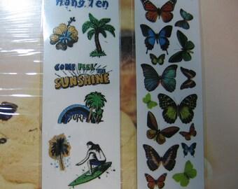 4 Packages Brand New Glitter Rub Ons The Beach Butterflies Hearts Fun