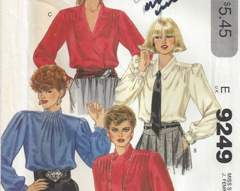 1980s Bust 32.5 Liz Claibourne Set of Blouses Double Breasted Back Buttoned Long Gathered Sleeves Pleated Sleeve Cap McCalls 9249 Size 10