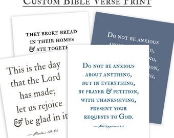 Custom Bible Verse Wall Art Print, Farmhouse decor, personalized gift for her, for him
