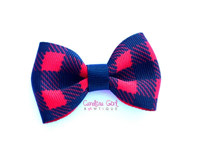 """Buffalo Plaid 2.5"""" Hair Bow Tuxedo Bow Simple Bow Boutique Bow for Babies Toddlers Girls Hair Bows"""