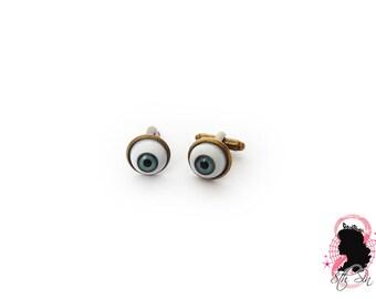 Antique Bronze Eyeball Cuff Links, Blue Eyeball Cufflinks, Blue Evil Eye Cuff Links, Grey Eyeball Cuff Links, Brown Eyeball Cuff Links