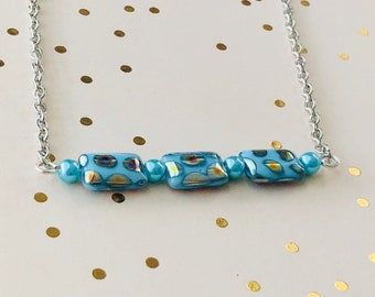 Bar Necklace, Light Blue/Gold Pattern Beaded Bar Pendant Necklace, gifts under 20 dollars