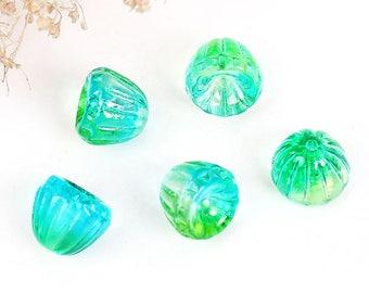 5 Czech Glass Beads 9mm x 8mm Lampwork Flower Beautiful and Versatile - CB325
