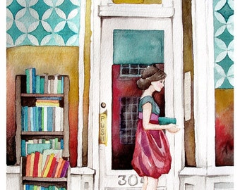 The Reader - Bookstore - Library - Student - Watercolor Print