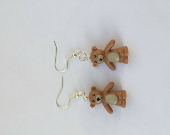 Lego teddy bear earrings