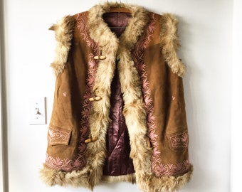 Vintage 70s Embroidered Ethnic Fur Vest , Suede Embroidered Gilet , BOHO Hippie Vest , Afghan Suede Vest