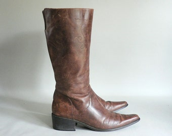 Womens Size 9 Tall Brown Leather Boots