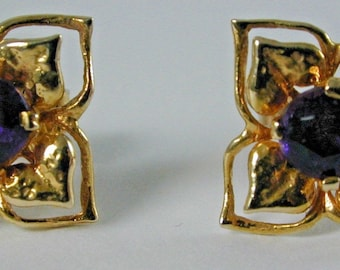 Amethyst 9CT yellow gold and amethyst flower earrings