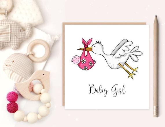 Baby girl stork greeting card baby girl baby girl birth m4hsunfo