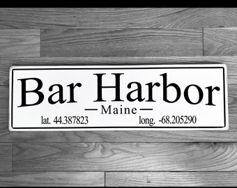 Bar Harbor, Maine Wood Sign / Mount Desert Island / Handmade / Maine Gift / Acadia National Park / Wall Decoration / Wedding Gift