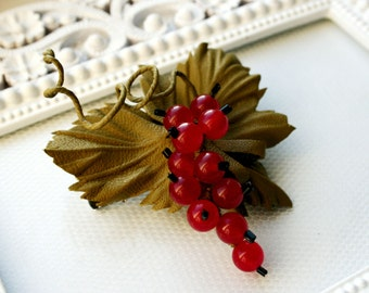 Red Currant Berry Glass Beds and  Leather Brooch/Hairclip