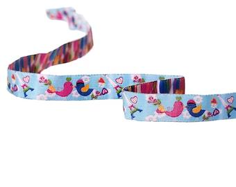 Woven multicolored 16mm - SC64661 - birds themed Ribbon