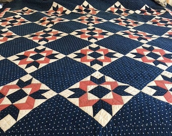 "Beautiful ""Star of Mary Quilt"" Red White and Blue Handmade Quilt from Pennsylvania"