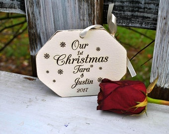 mr mrs ornament / Christmas ornament / our first Christmas / wedding ornament / custom ornament / first Christmas / wedding gift / newlywed