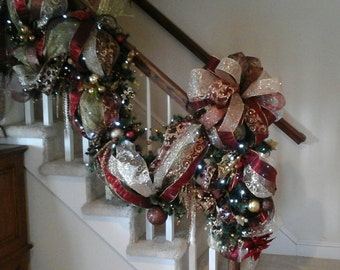 Christmas Staircase Swag, Lighted Stairway Garland, Designer Luxury Elegant  Old World Holiday Decor,