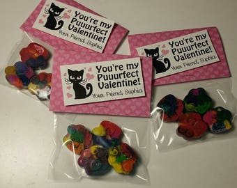 Kitty Cat Valentines Crayons  (12)