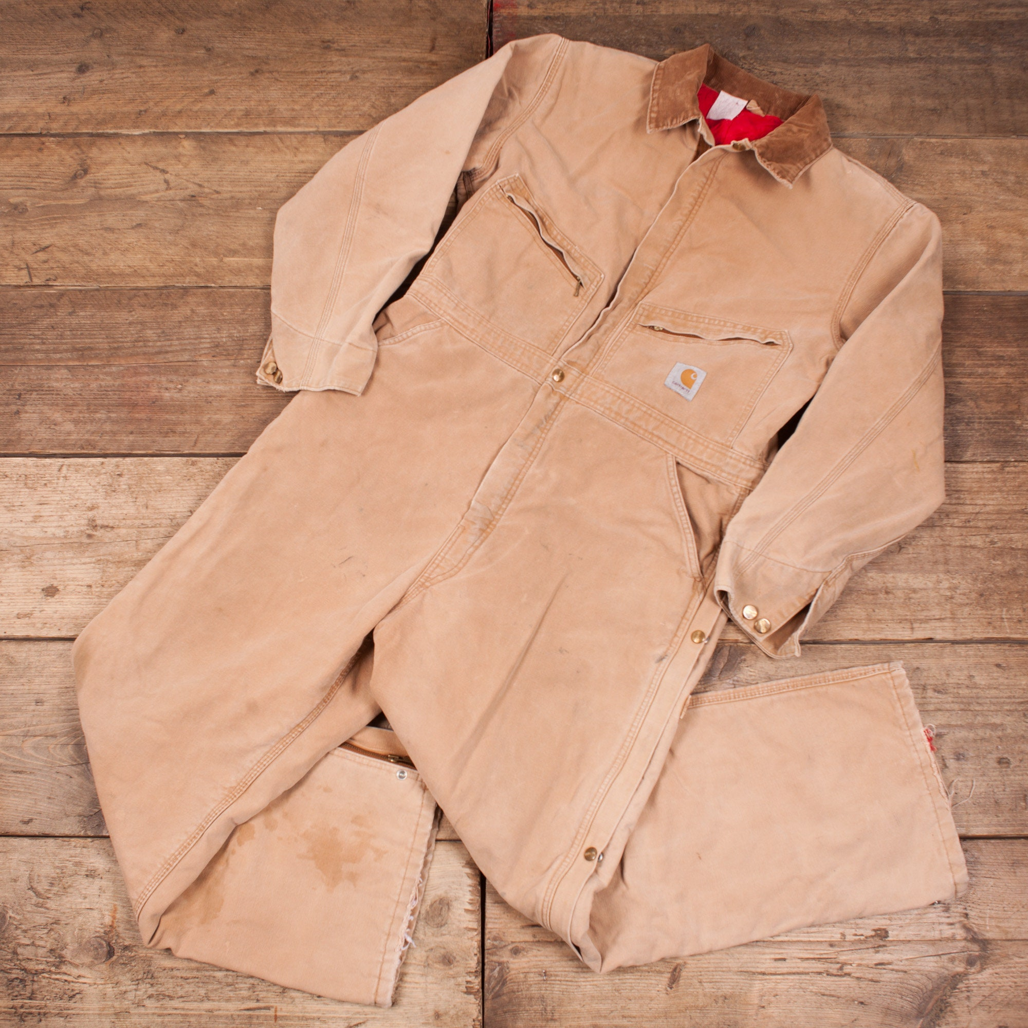 065dabbbb80 Mens Vintage Carhartt Duck Brown Workwear Coverall Boiler Suit