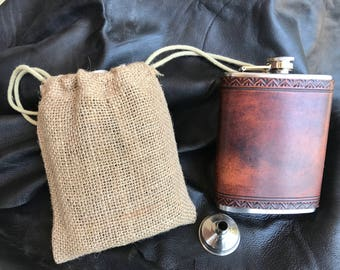 Leather Flask with funnel