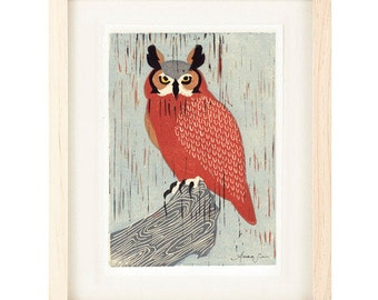 GREAT HORNED OWL Poster Size Linocut Reproduction Art Print: 8 x 10, 9 x 12, 11 x 14 or 12 x 16
