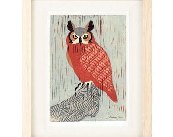 GREAT HORNED OWL Linocut Reproduction Art Print: 4 x 6, 5 x 7