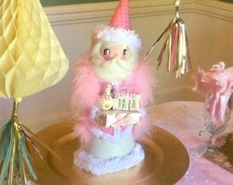 Santa Claus doll Santa tree topper centerpiece art doll pink Santa pink Christmas decor vintage retro inspired