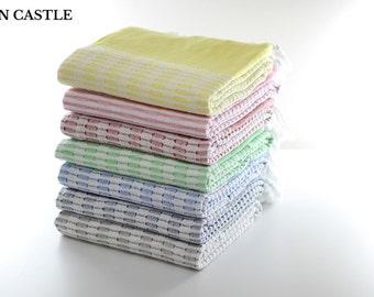 Aegean | Turkish Towel | Peshtemal | Beach Towel | Turkish Bath Towel | Wedding Gift | Bridesmaid Towel | Super Soft | Jacquard