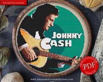 Johnny Cash Cross Stitch Pattern for Instant Download *P038 |Easy Cross Stitch| Counted Cross Stitch| Embroidery Design| Needlecraft Pattern
