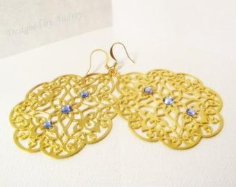 Earrings - Victorian Triple Crystal Gold Medallion Earrings