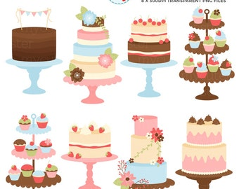Pretty Vintage Cakes Clipart Set - clip art set of cakes, wedding, rustic, floral - personal use, small commercial use, instant download