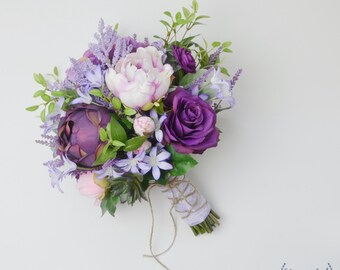 Boho Bouquet, Purple, Lavender, Wildflower Bouquet, Light Purple, Peony Bouquet, Wedding Bouquet, Bridal Bouquet, Silk Flower Bouquet