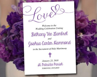 "Catholic Wedding Program Template - Printable Fold Over Ceremony Program Download ""Love"" Script Order of Ceremony - Grape Wedding DIY"