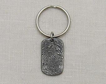 Rustic Metal Fingerprint Keychain, Fingerprint Dog Tag Keychain, Dogtag Keychain, Gift for Men, Rustic Keychain, Memorial Keychain for Men