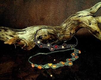 "Unique necklace in macrame, green or ashy-purple  ""Automne"""