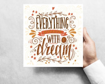 """Everything Starts With A Dream, 8""""x8"""" Metal Wreath Signs W#1"""