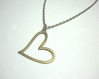 Large Heart Pendant, Antique Bronze Tone, Women's Necklace, Antique Bronze Tone Alloy Chain