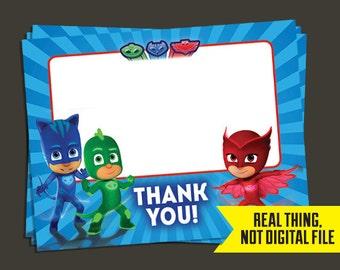PJ Masks Thank You Cards - PJ Masks Birthday - Thank You - PJ Masks