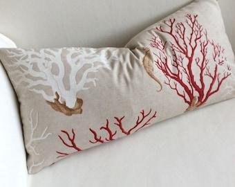 Sea coral, sea horse pillow cover 12x26