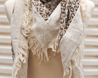 ON SALE Brown Leopard scarf Animal Print Large square chiffon scarf, Woman fashion scarf, Fall Scarf, Winter Scarf, Mothers Day Gift