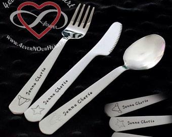 Children's Utensil Set, Kids Silverware, Personalized Spoon, Toddler Utensils, Toddler Keepsake, Silverware, Children's Spoon, Baby Gift