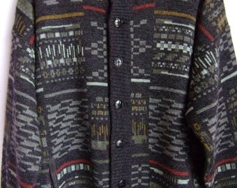 Vintage Men's Cardigan/Knitted Warm Woolen Acrylic Cardigan/Gray Black/Abstract Print/Button Up/ Pockets/Size XXL/Made in Italy