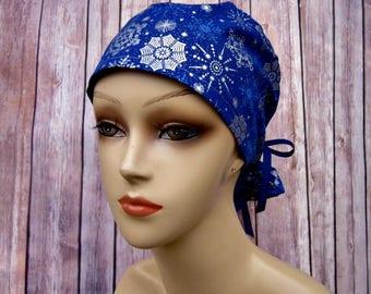 Surgical Scrub Caps - Ponytail Scrub Hat - Scrub Caps - Metallic Snowflake - Christmas Scrub Hat