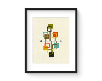 VIEW - 8x10 Version - Giclee Print - Mid Century Modern Danish Modern Minimalist Cubist Modernist Abstract Eames