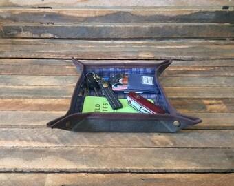Green Valet Tray, Mens Valet, EDC Valet, EDC Gear, Wallet Tray, Change Tray, Desk Tray, Desk Valet, Waxed Canvas Valet Tray, Accessory Tray