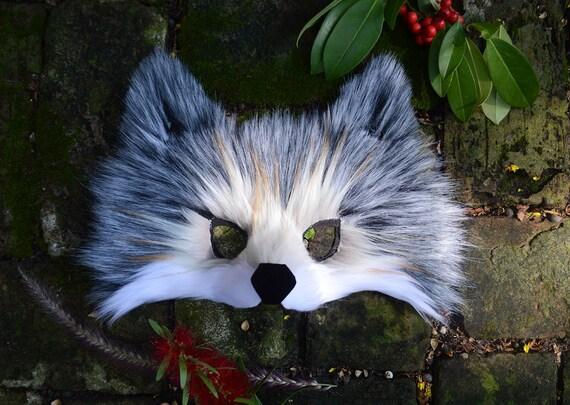 Grey Wolf Faux Fur Mask, handmade