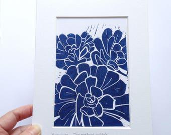 Plant lino print, succulent print, purple
