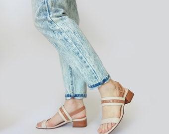 Womens sandals, Leather Sandals, Block sandals, Brown sandals, White summer sandals, Brown shoes, Heel sandal, Studs sandal, Evening sandals