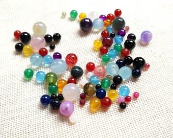 3-10mm Assorted Bead Mix Gemstone, Agate Bead Soup, Gemstone Bead, Round Bead, DIY Bead, Bulk Wholesale, 30g