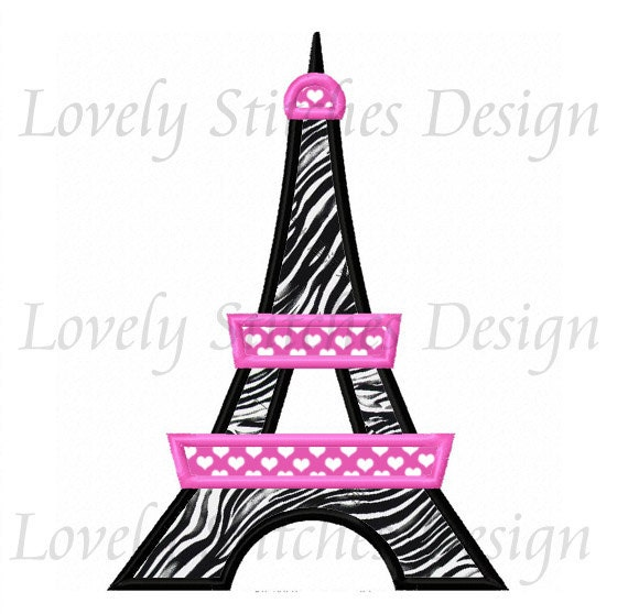 Eiffel Tower Applique Machine Embroidery Design No0583