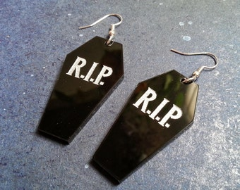 Big Halloween RIP Black Coffin Dangle Style Vampire Goth Earrings
