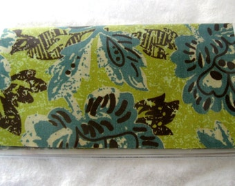 Checkbook Cover Floral Teal Olive Cash Holder Works with Duplicate Checks- Ready To Ship